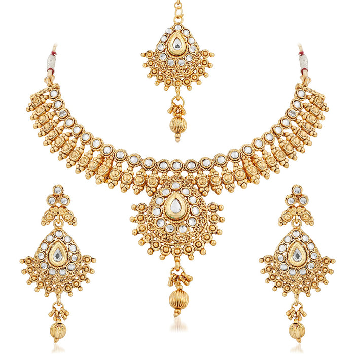 Trushi Delicate Gold Plated Necklace Set For Women