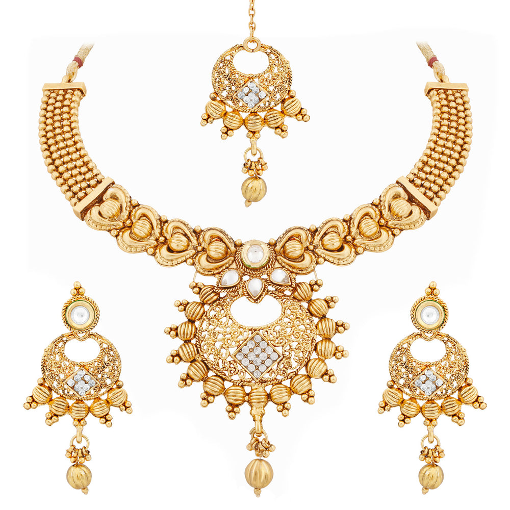 Trushi Beautiful Gold Plated Necklace Set For Women