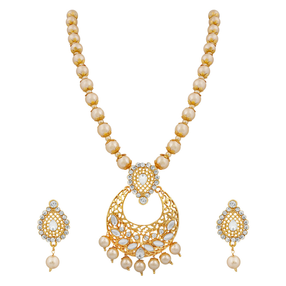 Trushi Stylish Gold Plated Pearls Ball Chain Necklace Set For Women