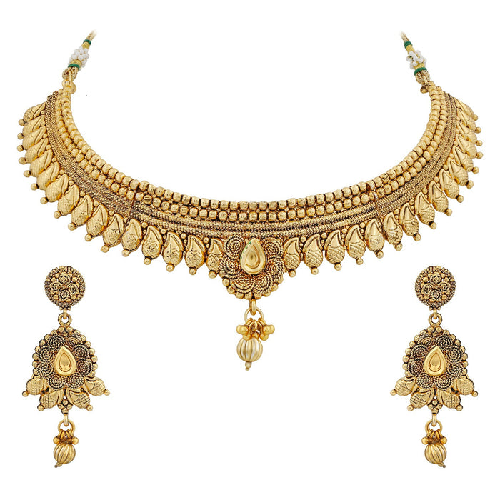 Sukkhi Sleek Beautiful Jalebi Gold Plated Designer Necklace Set For Women