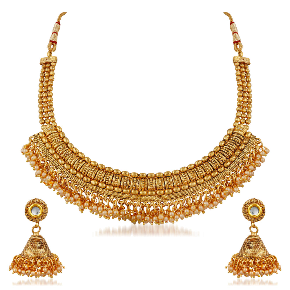 Trushi Bridal Gold Plated Pearl Necklaces Set For Women