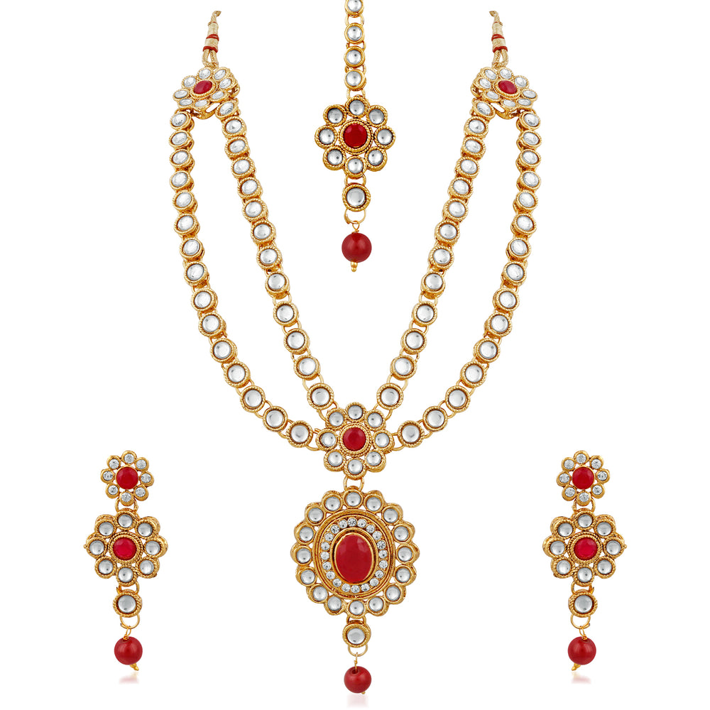 Trushi Gold Plated Designer Rani Necklaces Set With Kundan For Women
