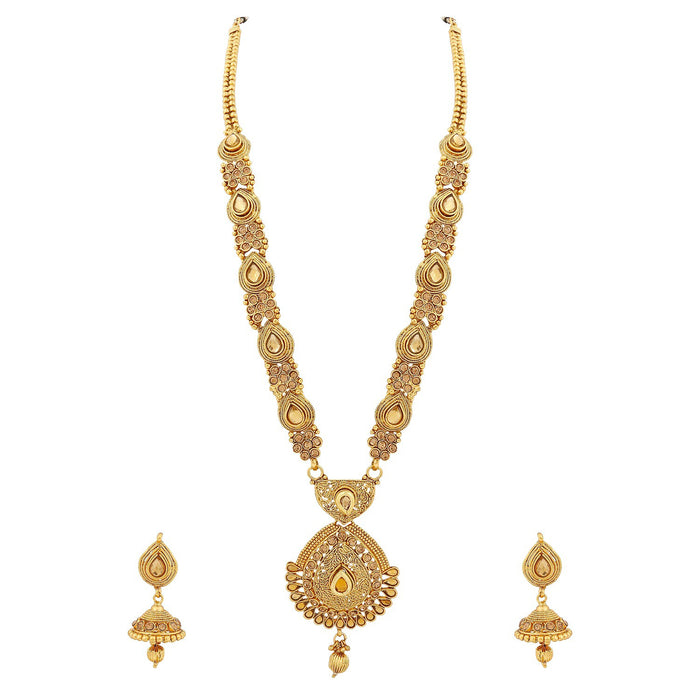 Trushi Gold Filled Designer Long Necklaces Set With Lct For Women