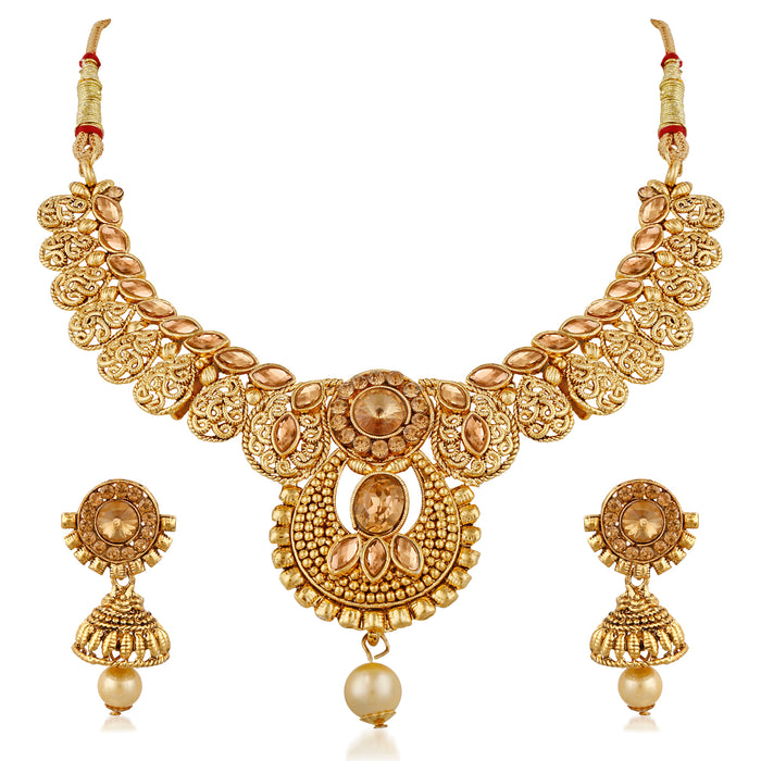Trushi Ethnic Gold Plated Designer Necklaces Set With Lct For Women