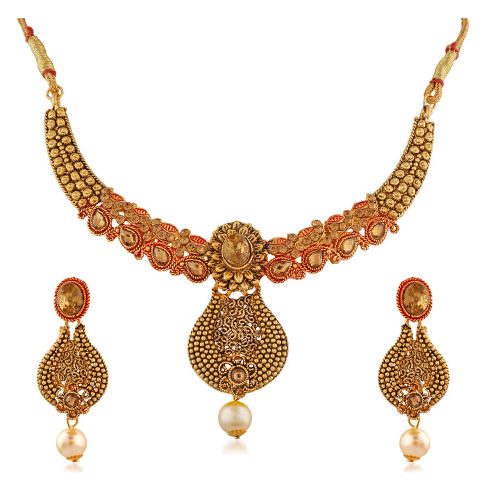 Trushi Classic Beautiful Meenakari Designer Necklaces Set With Lct For Women