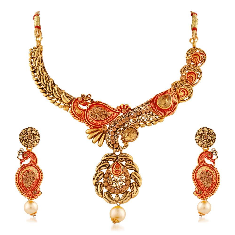 Trushi Antique Peacock Meenakari Designer Necklaces Set With Lct For Women