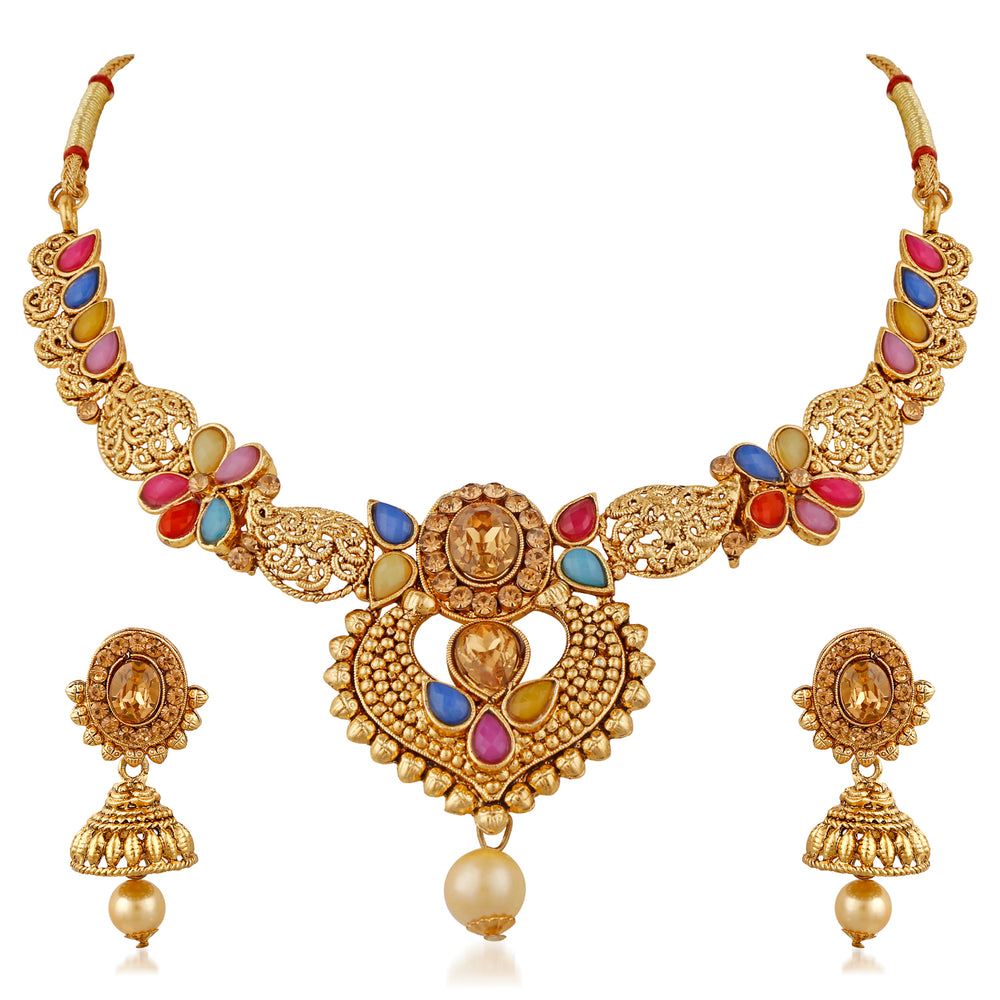 Trushi Adorable Gold Plated Designer Necklaces Set With Multi-Color Stones For Women