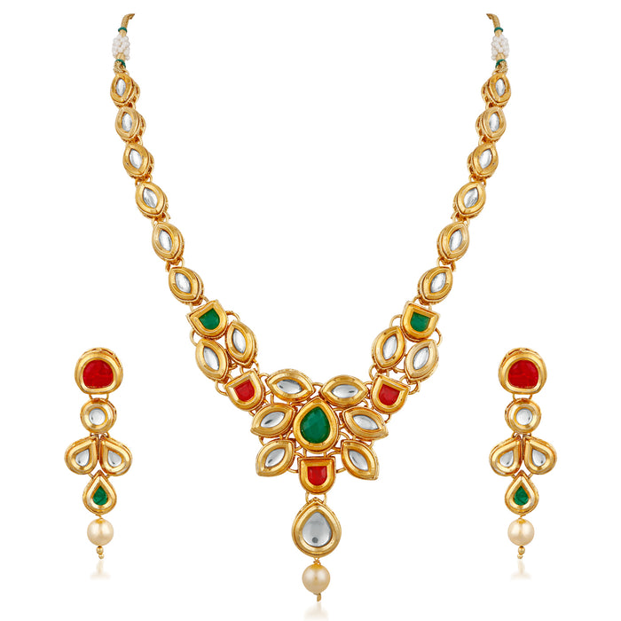 Trushi Stylish Gold Plated Designer Necklaces Set With Kundan For Womens