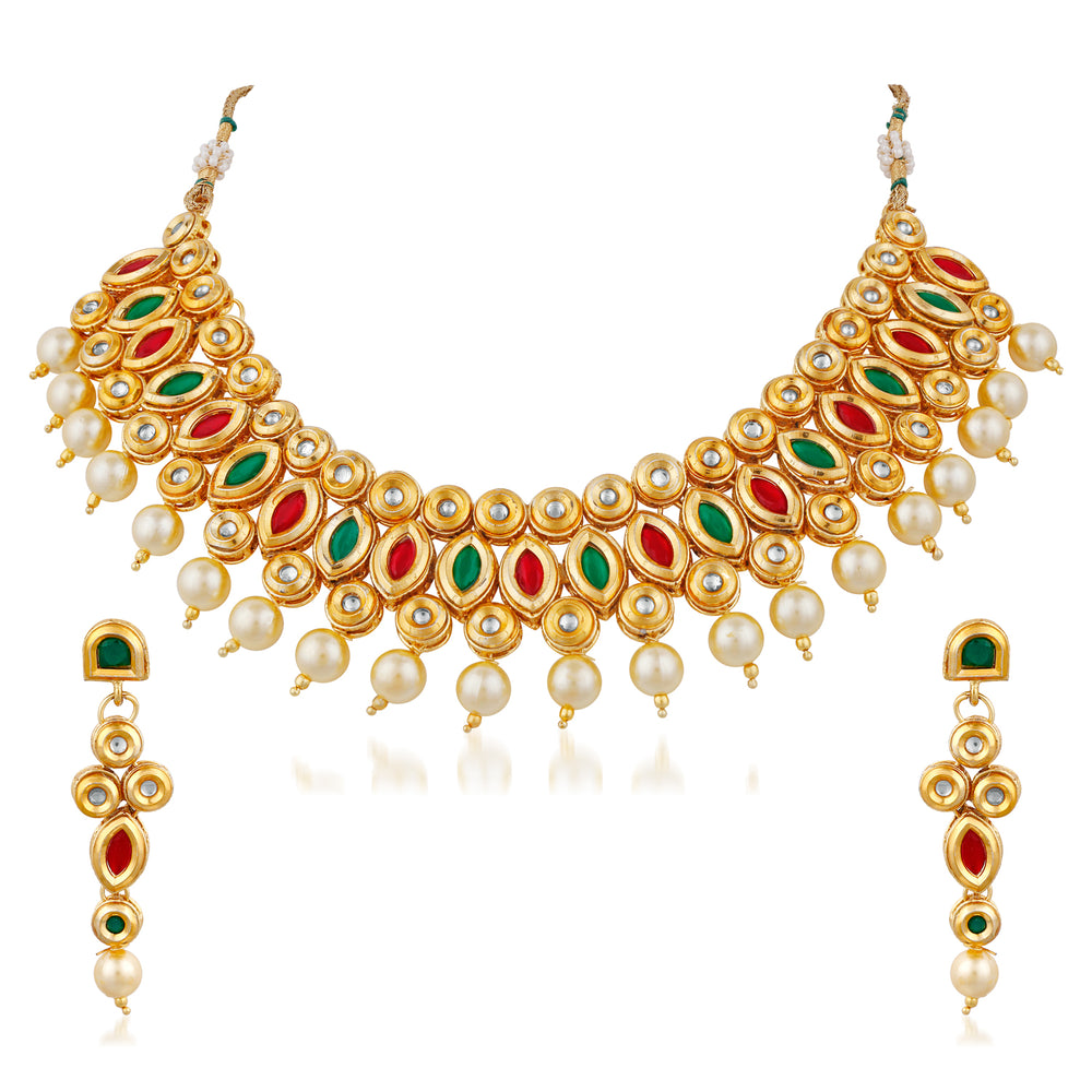 Trushi Eye-Catching Designer Gold Plated Necklaces Set For Women