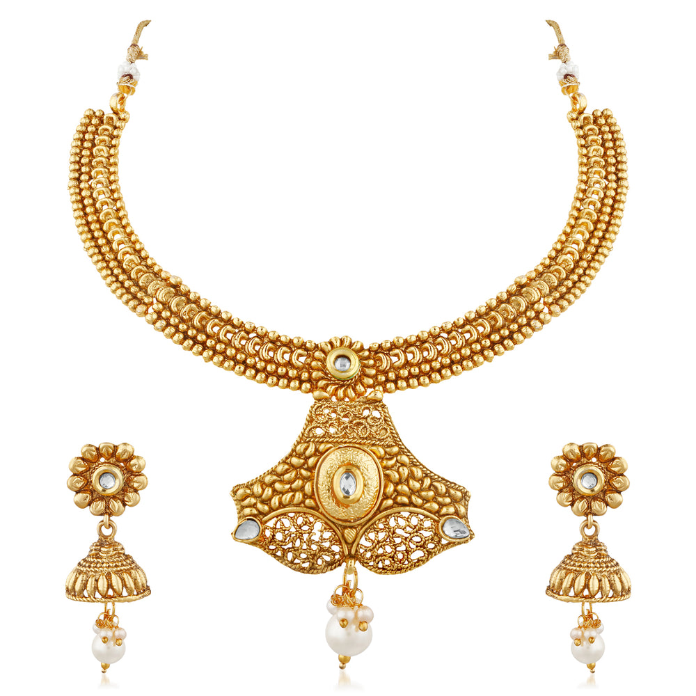 Trushi Charming Gold Plated Designer Necklace Set With White Stones And Pearls For Womens