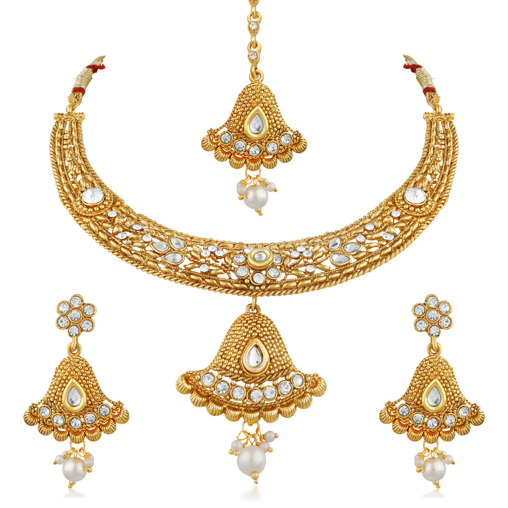 Trushi Elegant Gold Plated Necklaces Set For Women