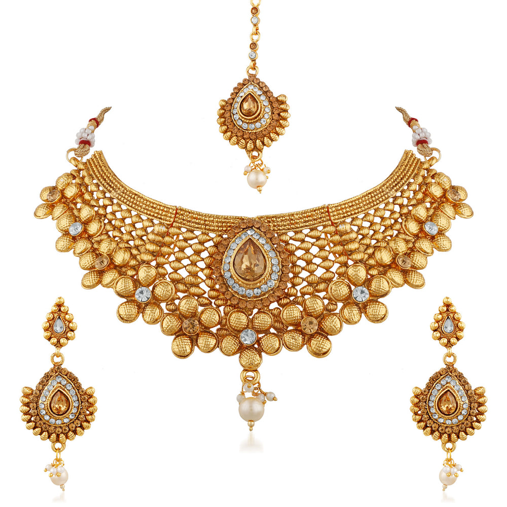 Trushi Authentic Gold Toned Bridal Necklaces Set With White And Lct For Womens