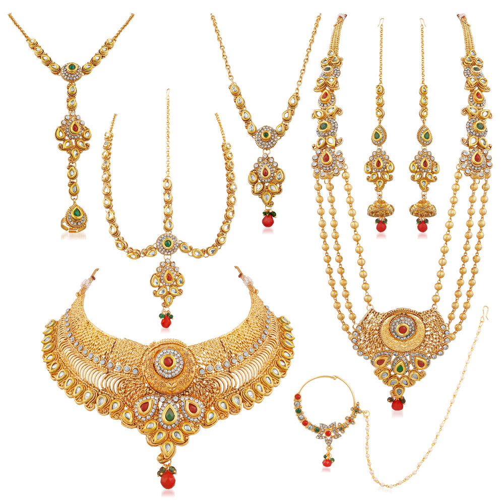 Trushi Beautiful Gold Plated Seven In One Bridal Necklaces Set For Women