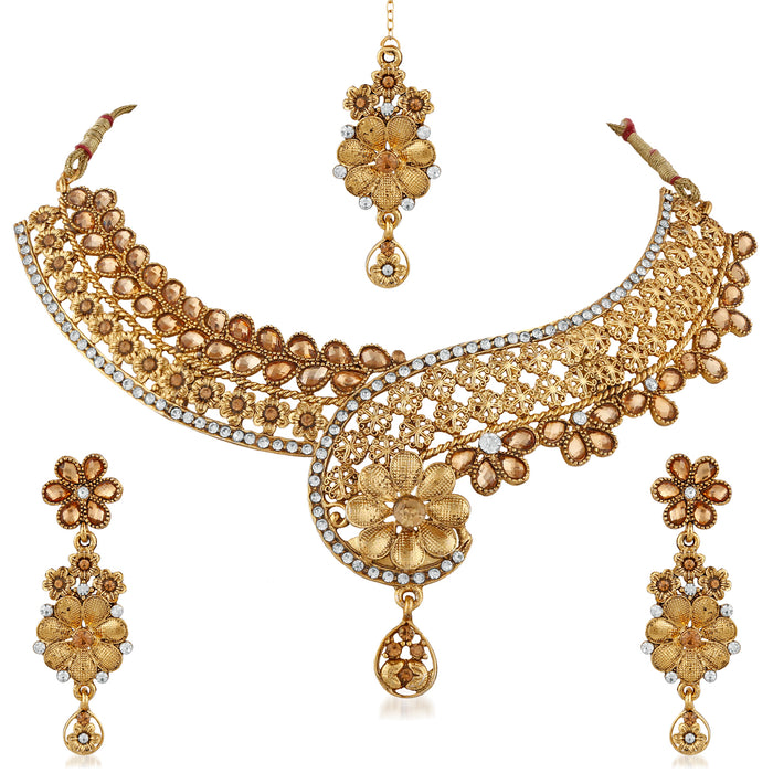 Trushi Classic Floral Gold Plated Designer Necklaces Set For Women