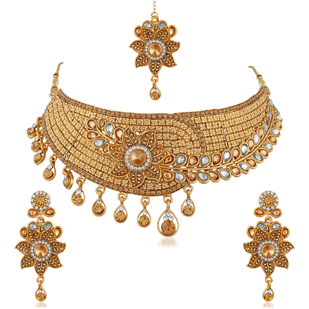 Trushi Floral Gold Plated Designer Choker Bridal Necklace Set With White And Lct For Womens