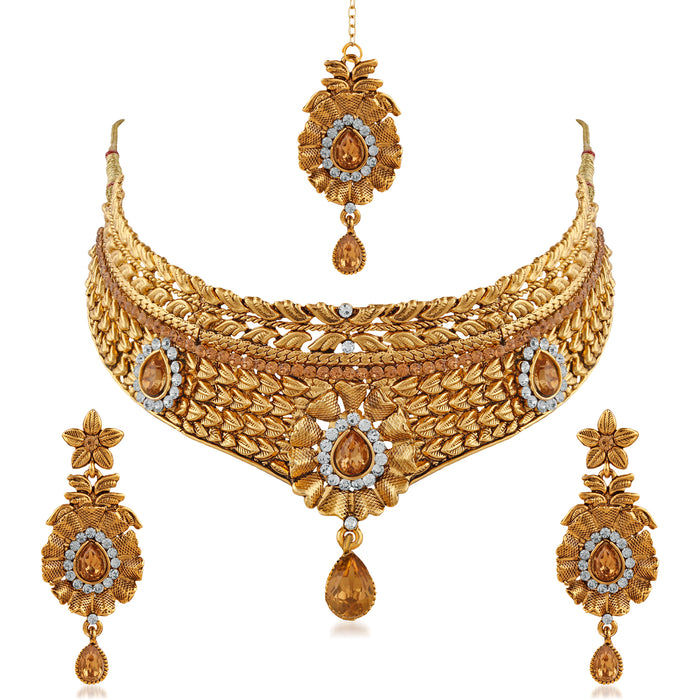 Trushi Glittering Designer Gold Plated Choker Bridal Necklaces Set For Women
