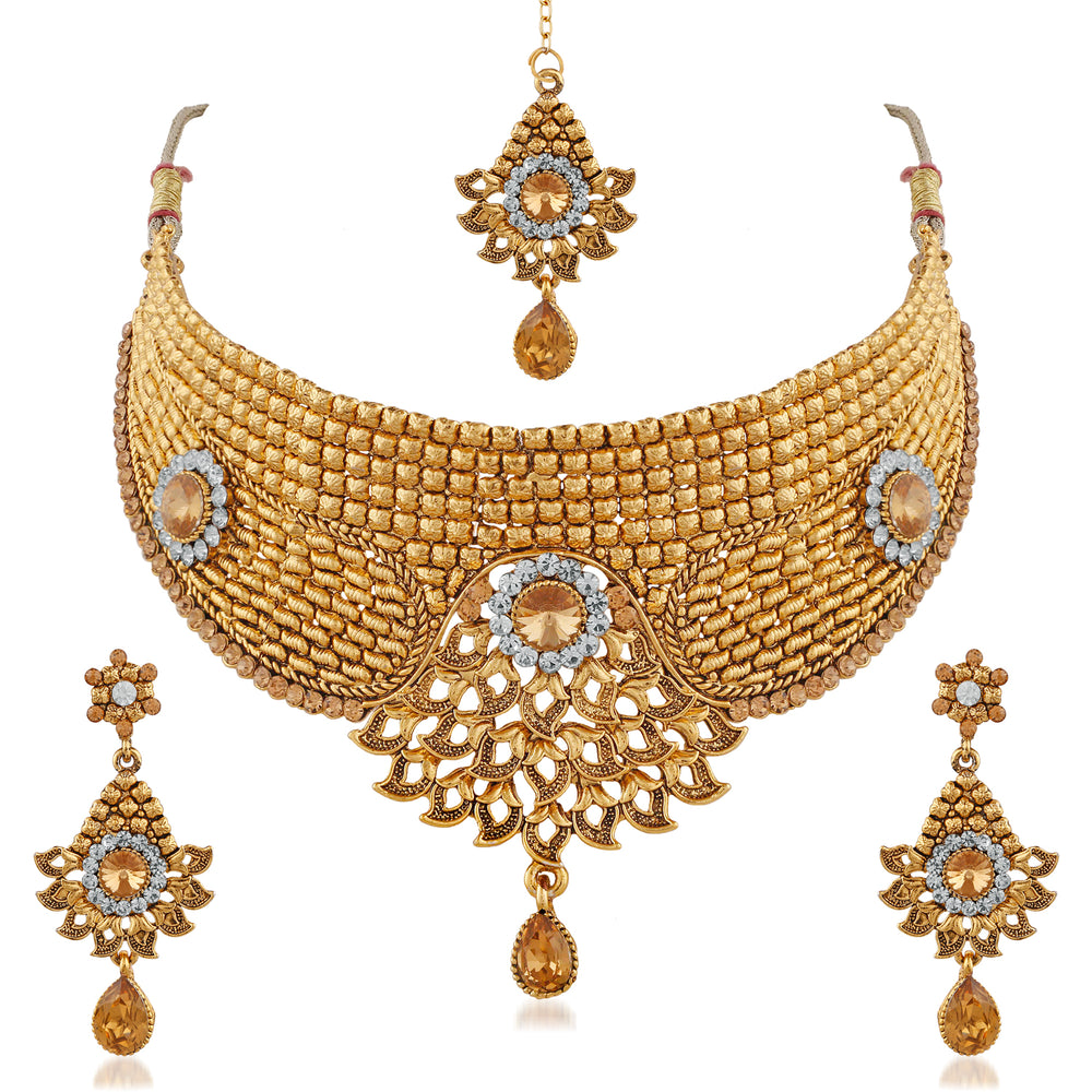 Trushi Eye-Catching Exclusive Gold Plated Choker Bridal Designer Necklaces Set With White And Lct For Womens