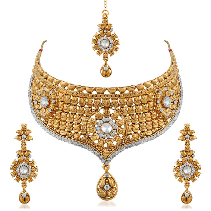 Trushi Flawless Designer Gold Plated Choker Bridal Necklaces Set With White Stones For Womans And Girls