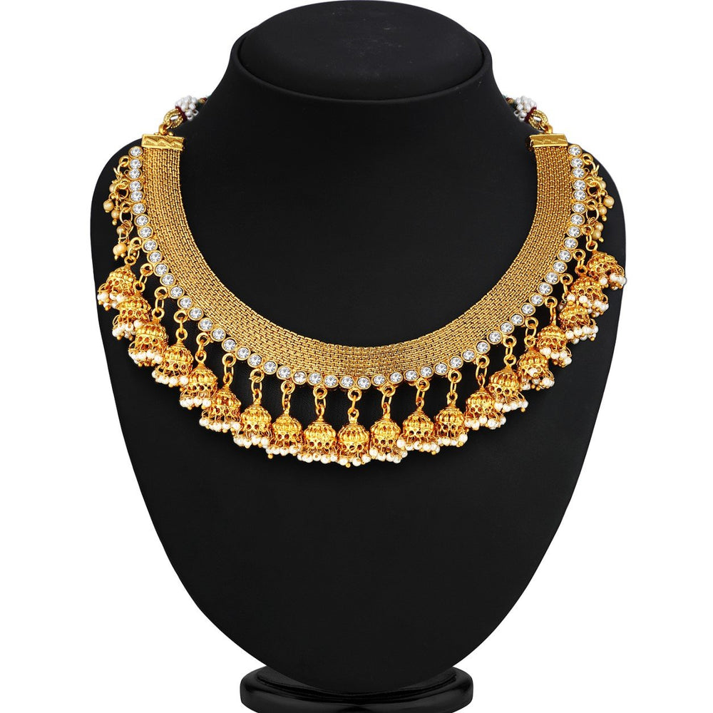 Sukkhi Gorgeous Gold Plated AD Stone Jhumki Choker Necklace Set For Women