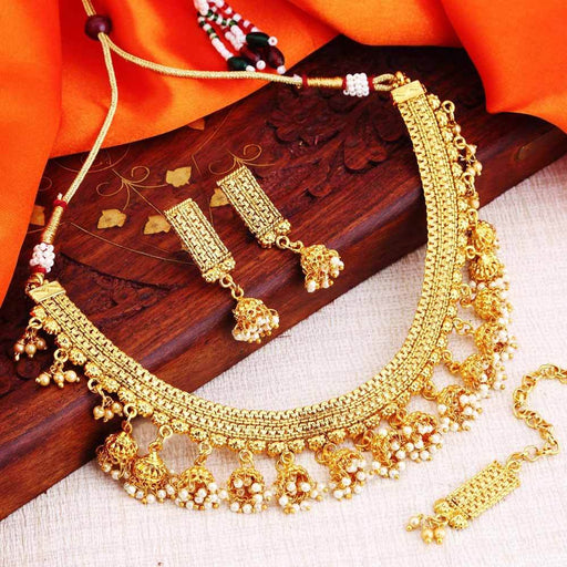 Sukkhi Cluster Gold Plated Jhumaki Choker Necklace Set for women