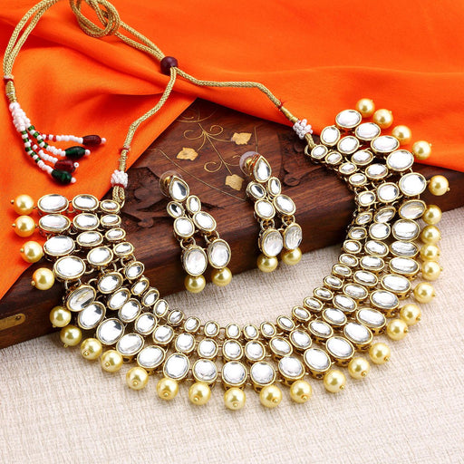 Sukkhi Bollywood Inspired 3 Line Gold Plated kundan choker necklace Set for Women
