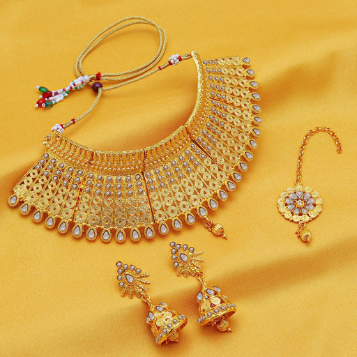 Sukkhi Exclusive Gold Plated Jalebi choker Necklace Set For Women