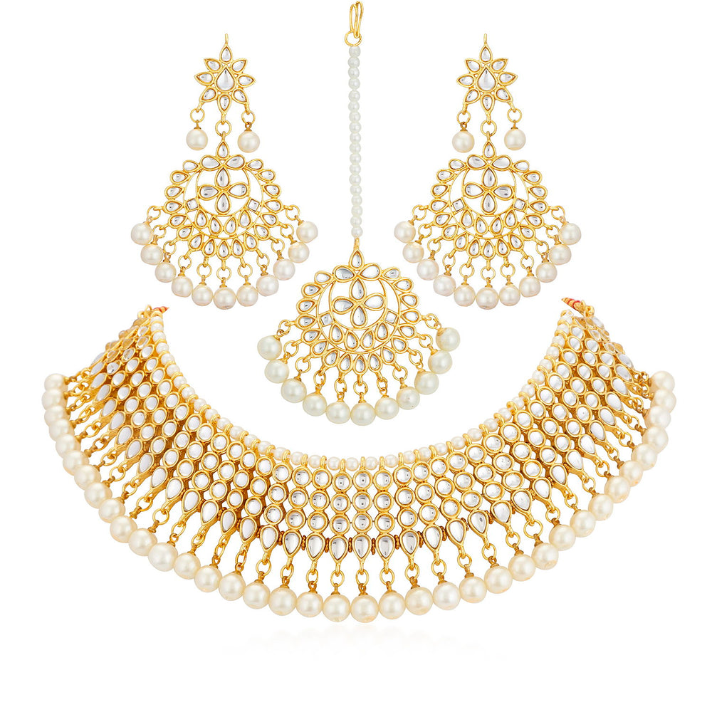 Trushi by Sukkhi Tradtional Gold Plated Necklace Set for Women