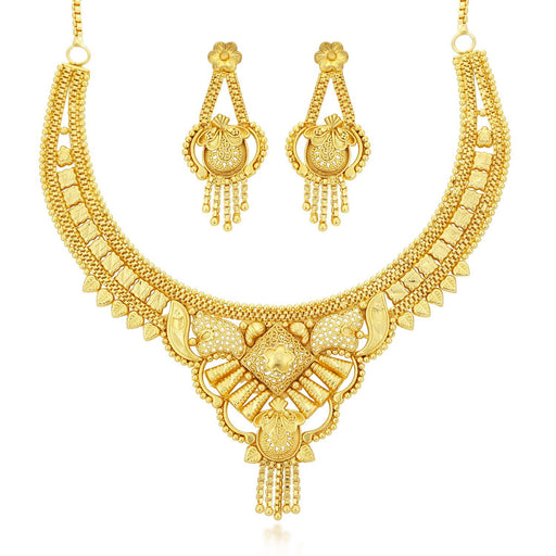 Sukkhi Lavish 24 Carat 1 Gram Gold Jewellery choker Necklace set for women