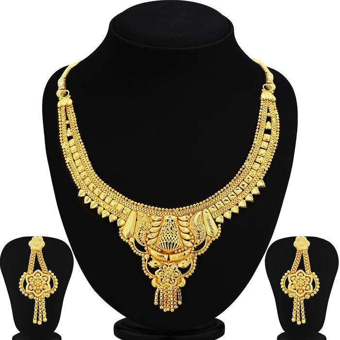 Sukkhi Trendy 24 Carat 1 Gram Gold Jewellery Choker Necklace set for women
