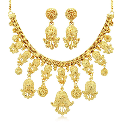 Sukkhi Fancy 24 Carat 1 Gram Gold Jewellery Choker Necklace set for women