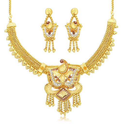 Sukkhi Gorgeous 24 Carat 1 Gram Gold Jewellery Choker Necklace set for women