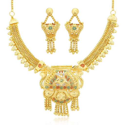 Sukkhi Designer 24 Carat 1 Gram Gold Jewellery Choker Necklace set for women