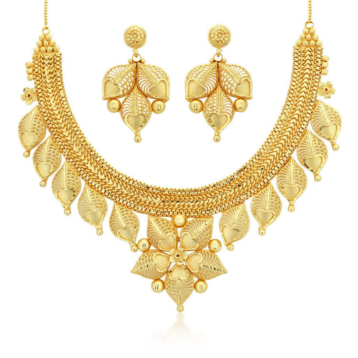 Sukkhi Exquisite 24 Carat 1 Gram Gold Jewellery Choker Necklace set for women