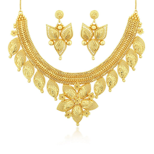 Sukkhi Cluster 24 Carat 1 Gram Gold Jewellery Choker Necklace set for women