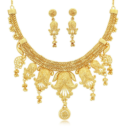 Sukkhi Modern 24 Carat 1 Gram Gold Jewellery Choker Necklace set for women
