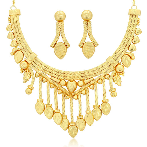 Sukkhi Brilliant 24 Carat 1 Gram Gold Jewellery Choker Necklace set for women