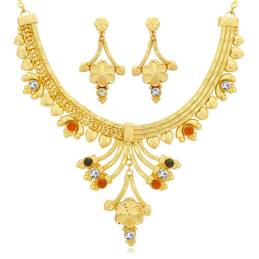 Sukkhi Elegant 24 Carat 1 Gram Gold Jewellery Choker Necklace set for women