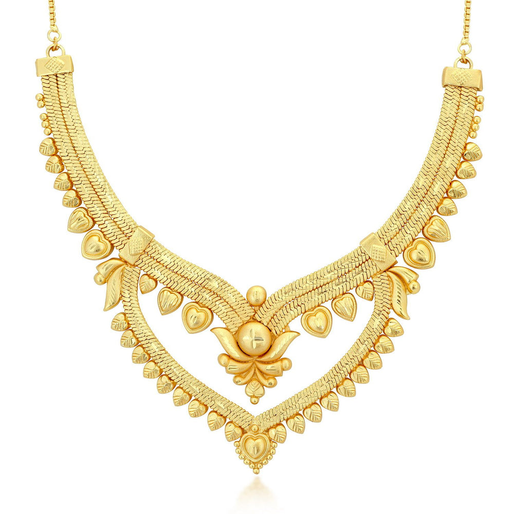 Sukkhi Dazzling 24 Carat 1 Gram Gold Jewellery choker Necklace set for women