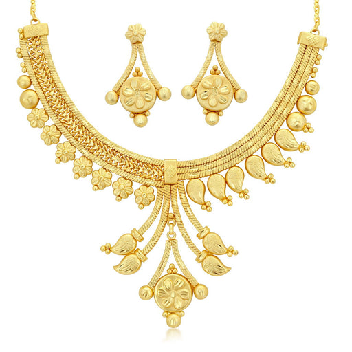 Sukkhi Graceful 24 Carat 1 Gram Gold Jewellery Choker Necklace set for women