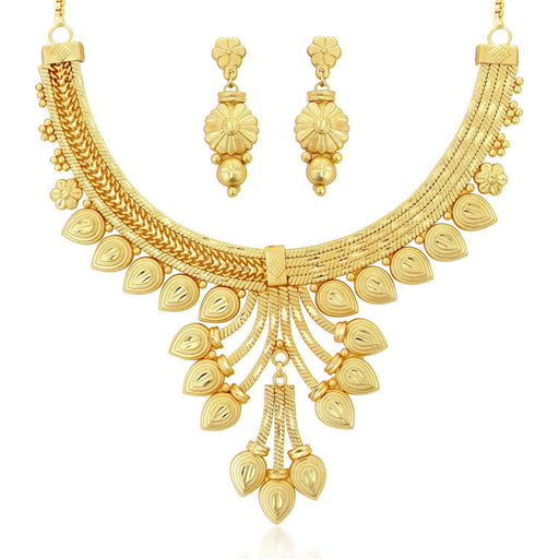 Sukkhi Exotic 24 Carat 1 Gram Gold Jewellery Choker Necklace set for women