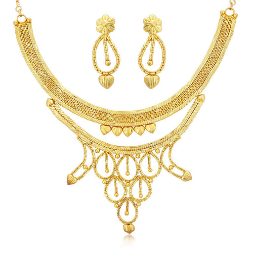 Sukkhi Ravishing 24 Carat 1 Gram Gold Jewellery Choker Necklace set for women