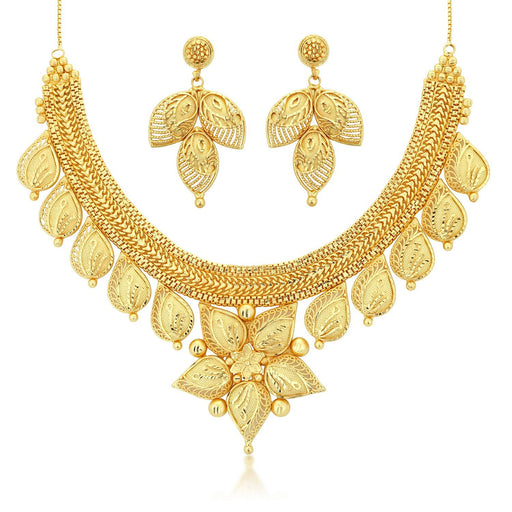 Sukkhi Traditional 24 Carat 1 Gram Gold Jewellery Choker Necklace set for women