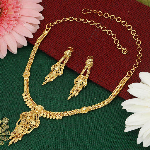 Sukkhi Blossomy Alloy 24 Carat 1 Gram Gold Jewellery Necklace Set for Women