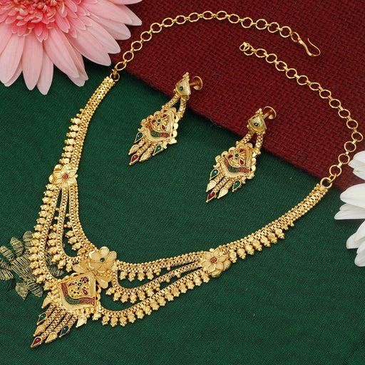 Sukkhi Lavish Alloy 24 Carat 1 Gram Gold Jewellery Necklace Set for Women