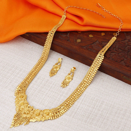 Sukkhi Lavish 24 Carat 1 Gram Gold Jewellery Rani Haar Necklace Set for Women