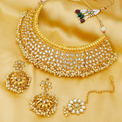 Sukkhi Antique Rajwadi Gold Plated Choker Necklace Set For Women