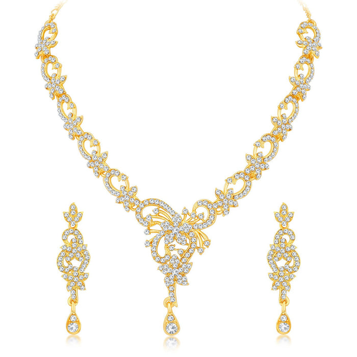 Sukkhi Wavy Gold Plated Choker Necklace Set for Women