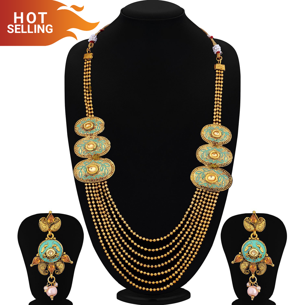 Sukkhi Traditional Mint Collection 7 String Oval Gold Plated Long Haram Necklace Set For Women