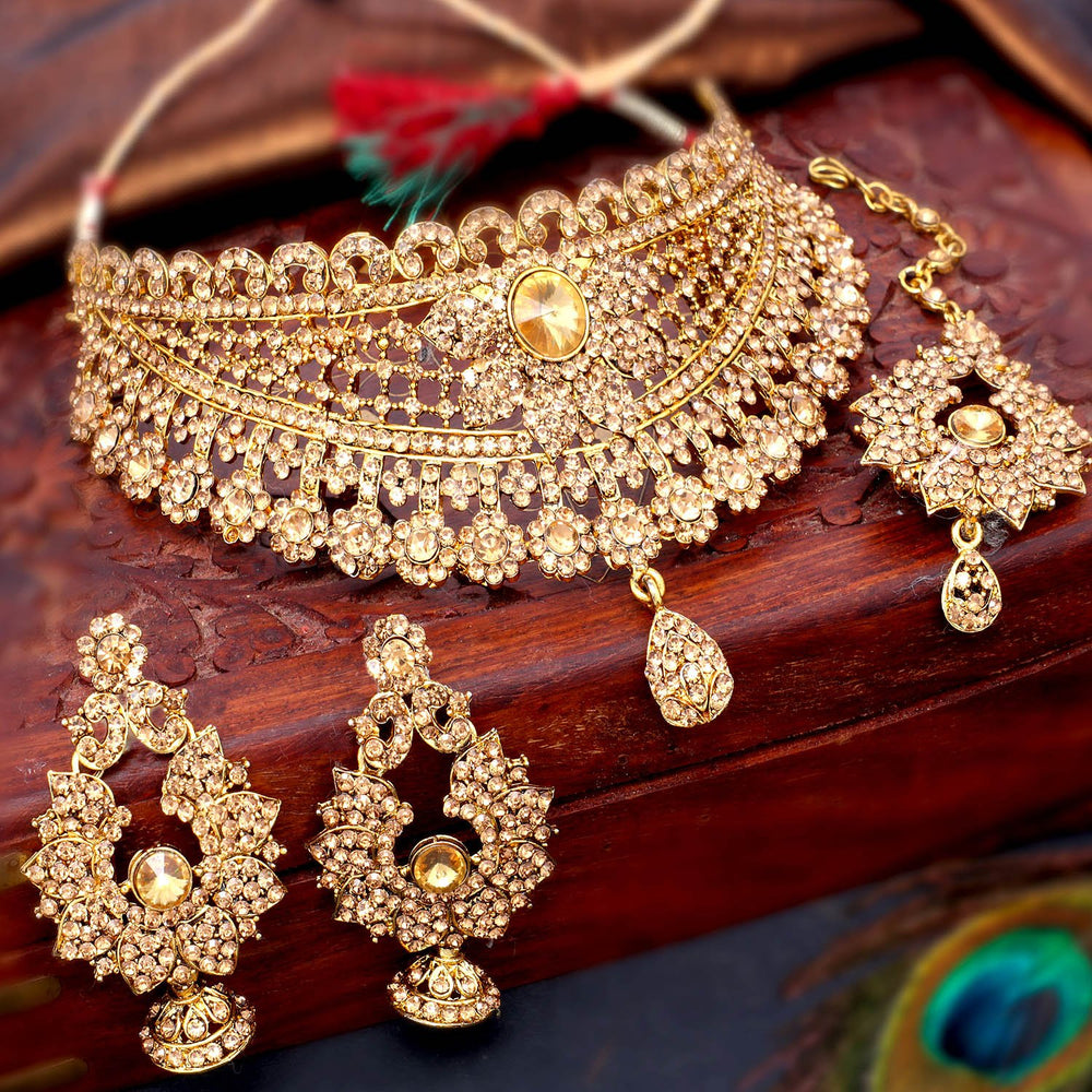 Sukkhi Adorable Gold Plated LCT Stone Choker Necklace Set For Women