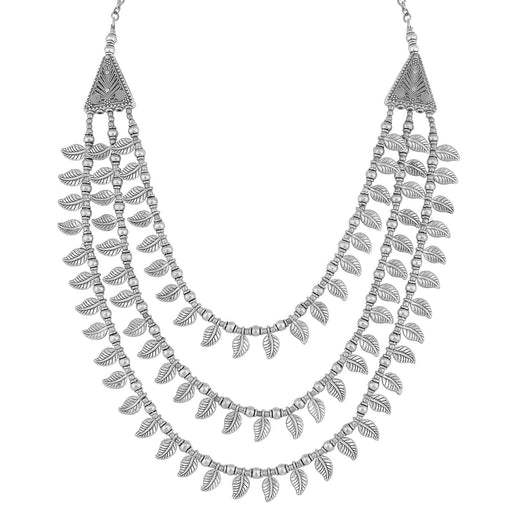 Sukkhi Leafy Oxidised Multi-String Necklace For Women